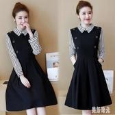 假兩件條紋連身裙 秋裝新款2020大碼OL職業洋裝修身中長款黑色打底A字裙 DR33471【美好時光】