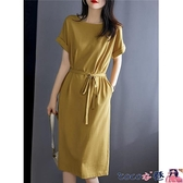 短袖連身裙 連身裙女夏裝2021年新款寬鬆大碼胖MM顯瘦氣質收腰中長款短袖裙子 coco