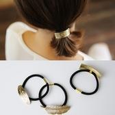UNICO 韓版合金金屬簡約壓印字母羽毛造型髮圈