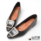 尖頭鞋 閃耀方鑽皮革平底鞋- 山打努SANDARU【2462522#46】