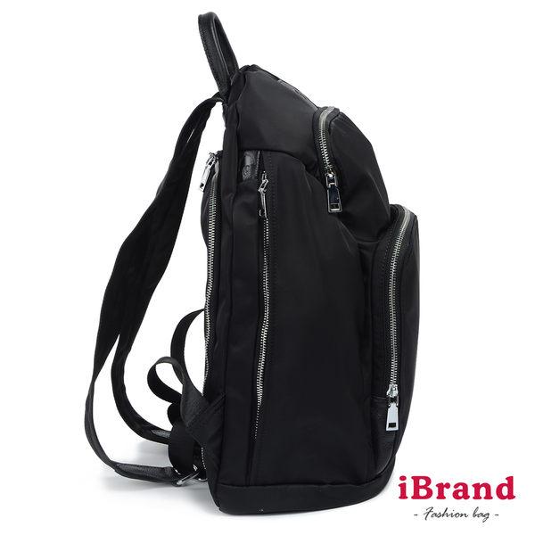 【iBrand】率性時尚後開式防盜尼龍後背包(加大)-百搭黑 61616-01BK