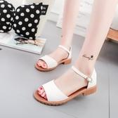 魚嘴涼鞋 2020夏季羅馬粗跟平底涼鞋防滑露趾中跟魚嘴韓版
