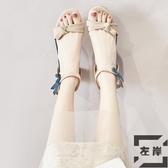 高跟涼鞋女夏季韓版百搭蝴蝶結粗跟羅馬鞋休閒【左岸男裝】