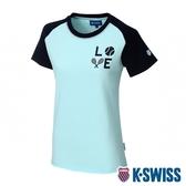 K-SWISS Raglan Tee印花短袖T恤-女-粉綠/藍