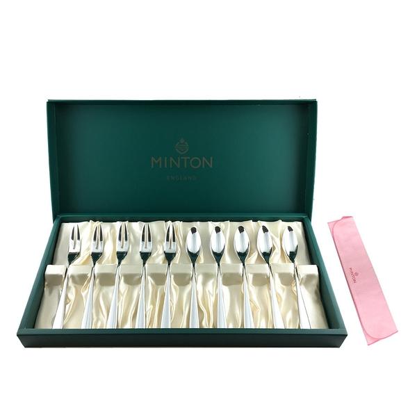 【日本製】【MINTON】日本製 茶匙&蛋糕叉子 10入 附拭巾 SD-3030 - 日本製