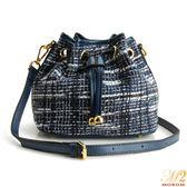 真皮包-MOROM.時尚俏麗編織毛呢水桶包(共三色)1810