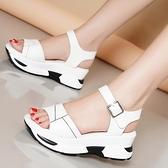 楔形涼鞋 真皮足意爾康鞋子女2021新款夏季高跟平底增高坡跟鬆糕厚底涼鞋女