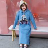 中大尺碼~毛球裝飾長袖長款衛衣裙(XL~4XL)
