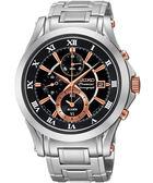 【僾瑪精品】SEIKO Premier 經典羅馬 兩地時間鬧鈴腕錶-黑x玫瑰金時標/7T62-0JW0K(SNAF20J1)