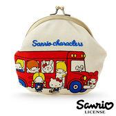 【日本進口正版】凱蒂貓 美樂蒂 三麗鷗 人物 刺繡 珠扣包 零錢包 收納包 卡片包 Sanrio 095985