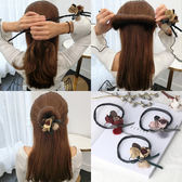 韓國丸子頭珍珠花朵盤髮器造型器懶人頭飾水鑽髮飾花苞頭盤髮神器【全館八八折促銷】