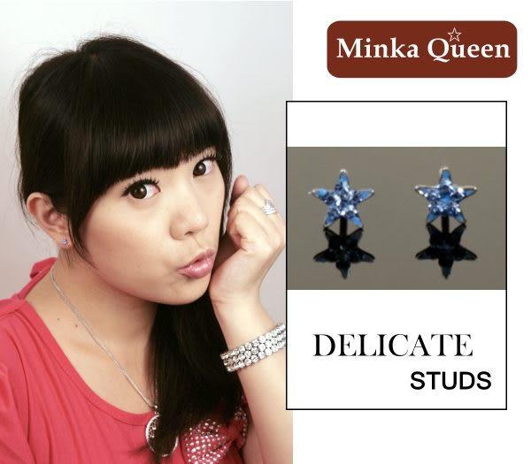 德國鈦鋼 可愛小星星造型深藍色精緻水鑽抗敏耳環(一對)(5 mm)