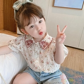 夏裝碎花襯衣寶寶短袖上衣兒童復古襯衫女泡泡袖【聚可愛】