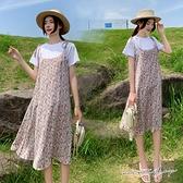 孕婦裝 MIMI別走【P31466】莫內花園 兩件式 上衣+碎花雪紡吊帶裙 孕婦洋裝