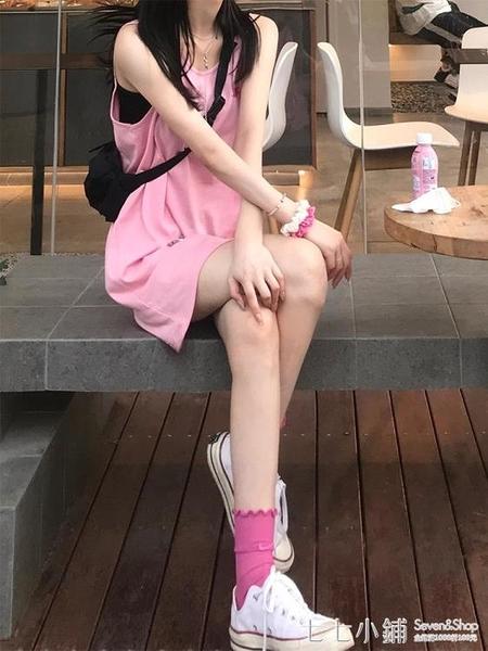 粉色少女純棉無袖t恤女2021年新款夏季百搭寬松時尚長款上衣潮ins 七七小鋪