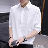 男T恤襯衫領紐扣裝飾豎純色短袖七分袖 夏季青年學生帥氣時尚潮牌 3C優購
