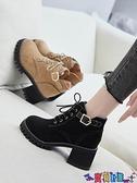 高跟短靴 馬丁靴女鞋子英倫風靴子2021新款百搭高跟短靴粗跟春秋款冬季 寶貝計畫
