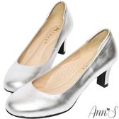 Ann'S空姐美腿款全真羊皮中跟包鞋-銀