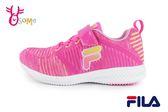 FILA 運動鞋 女童 中大童 針織 透氣 慢跑鞋O7642#桃紅◆OSOME奧森童鞋