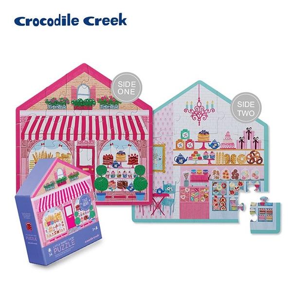 《美國Crocodile Creek》童話小屋雙面學習拼圖-甜點小屋(24片)