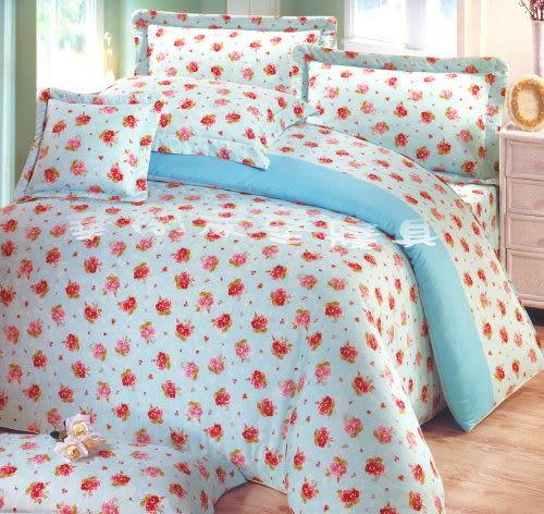*睡美人寢具工坊*《台灣精品.100%精梳棉─思念薔薇-綠》雙人鋪棉兩用被套 6*7 MIT可當涼被