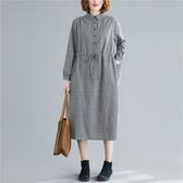 棉麻顯瘦小格紋襯衫領洋裝-大尺碼 獨具衣格