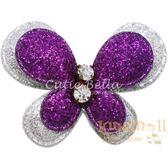 Cutie Bella亮粉蝴蝶全包布手工髮夾-Butterfly Sparkle-Violet/Silver
