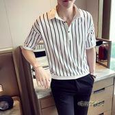 條紋襯衫男短袖韓版潮流襯衫男五分袖中袖白襯衫寬鬆男T恤冰絲bf「時尚彩虹屋」