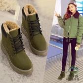 雪地靴棉鞋女冬季防滑短筒加絨加厚保暖短靴防水【步行者戶外生活館】