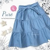 簡約甜美綁帶蝶結牛仔長裙(310522)【水娃娃時尚童裝】