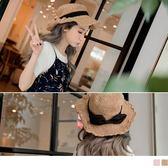《ZB0571》可調鐵絲帽沿蝴蝶結綴飾藤編草帽 OrangeBear