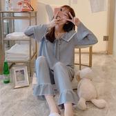 睡衣睡衣女秋季純棉長袖甜美公主風少女薄款家居服春秋冬全棉學生套裝 韓國時尚週