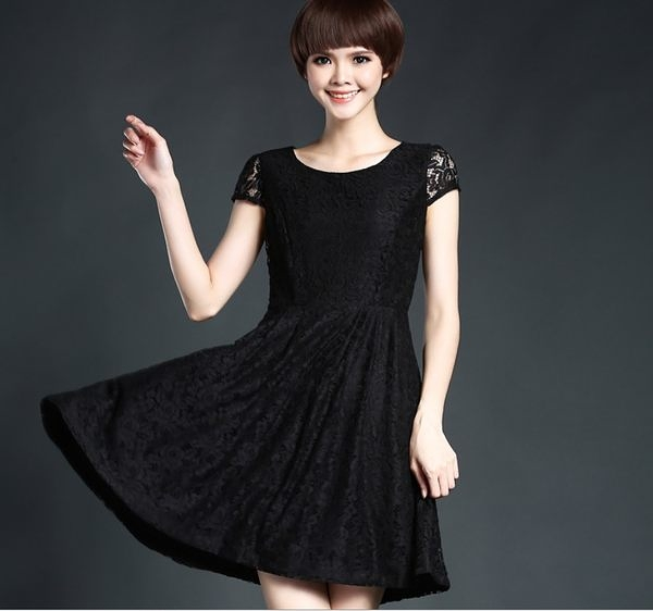 卡樂store...高檔蕾絲連身裙大裙擺修身顯瘦 S-3XL #160