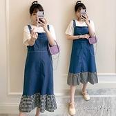 孕婦裝 MIMI別走【P31464】遇見美好 兩件式 格紋拼接牛仔裙 吊帶裙 孕婦洋裝