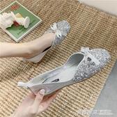 蝴蝶結單鞋女夏夏款方頭韓版豆豆鞋新款女鞋搭配裙子的平底鞋  英賽爾