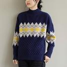 純棉拼接菱形高領針織衫 撞色寬鬆長袖套頭毛衣/4色-夢想家-0115
