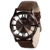 【名人鐘錶】mono CK款中性鏤空咖啡金皮革錶x38mm 深棕色小羊皮皮革帶×藍寶石水晶鏡面・公司貨