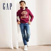 Gap男童 復古破洞設計鬆緊牛仔褲 499499-藍色