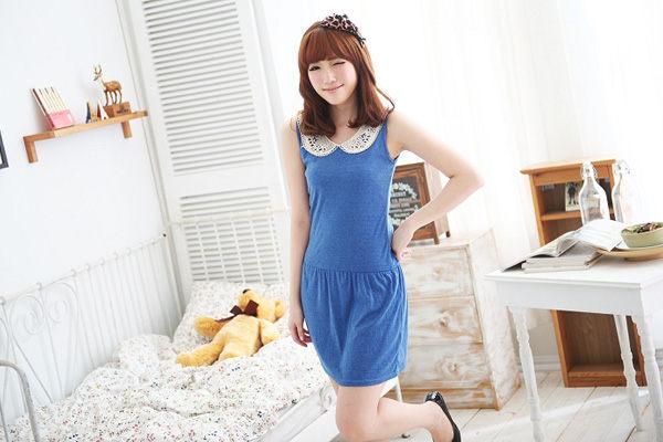 領前蕾絲布邊束腰造型孕婦洋裝 2色【EI4283】孕味十足 孕婦裝