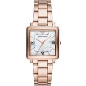 【台南 時代鐘錶 Emporio Armani】亞曼尼 AR11177 義式品味 羅馬字 方形鋼錶帶女錶 珍珠貝 玫瑰金 30mm