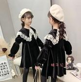 兒童洋裝 女童洋裝秋冬新款大童兒童加絨加厚洋氣金絲絨公主裙子冬季