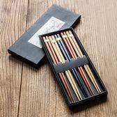 家用筷子套裝個性日式筷子餐具家庭5雙裝【萬聖節8折】
