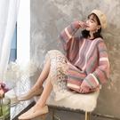 中長版毛衣 套頭毛衣女秋裝好康推薦新品中長版長袖甜美條紋粗毛線秋季針織衫上衣