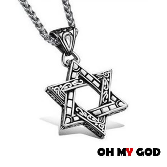 OH MY GOD六角星個性鈦鋼項鍊