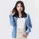 Victoria 水洗牛仔合腰基本版長袖襯衫-中藍-V1506276(領劵再折)