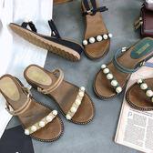 涼鞋 珍珠坡跟正韓中跟一字拖鞋二穿羅馬沙灘鞋  24小時現貨