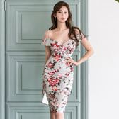 工廠直銷不退換~865夏季女裝性感深V露肩吊帶裙修身包臀印花連身裙ZL2FA07-B紅粉佳人