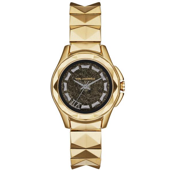 KARL LAGERFELD KARL 7系列搖滾星錐三針腕錶-金x灰小
