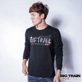 BIG TRAIN 海浪文字LOGO長袖T-男-黑色