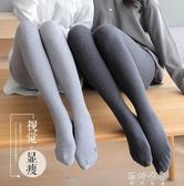 絲襪 純棉打底褲女連褲襪薄款外穿韓版加絨加厚豎條螺紋灰色 蓓娜衣都